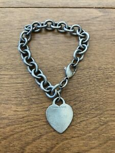 Tiffany & Co sterling silver Heart tag charm chain link bracelet
