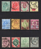 Great Britain 12 Edward Stamps c1902-10 Used (6135)