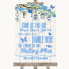 Wedding Sign Poster Print Blue Rustic Wood All Family No Seating Plan