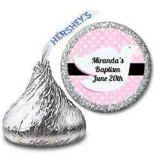 Dove Pink - Personalized Hershey Kiss Baptism Christening Sticker Label - 108