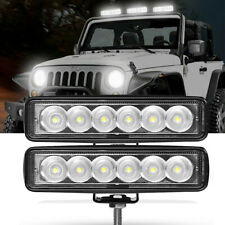 2X 6inch LED Work Light Bar 18W Flood Offroad Lamp Fog SUV ATV 4WD Truck Driving