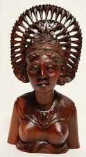 Older BALI Carved Female BUST Higher Grade Artist Wood Indonesian Vtg Sculpture