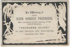 1878 Mourning Card for 700 Passengers of 'Princess Alice' Steamship Sinking