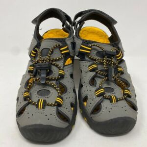 Khombu Boys Kyle Sandals Gray Yellow Straps Bungee Cord Hook And Loop 1