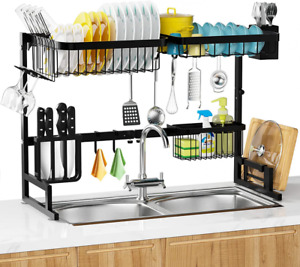 Over The Sink Dish Drying Rack 2 Tier Adjustable Length Stainless Steel Dish