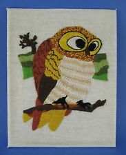 Completed Crewel Embroidery Tapestry Owl on Branch