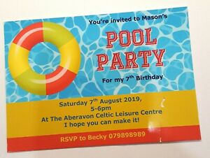 Personalised swimming party pool party invitations birthday boys girls inflatabl