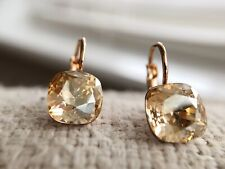 Dangle square 8mm Amber Swarovski crystal with bella rose gold pierced earrings
