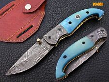 Custom Handmade Damascus Folding Knife Damascus Bolster color bone Handle