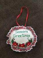 set of 8 CHRISTMAS Tree Ornaments Santa Snowman angel tabby cat CROSS STITCH new Kit country Rustic round