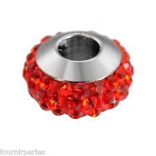 5 Perle Acier Inoxydable Rouge Strass Accessoire Pr Bracelet Collier 10x6mm