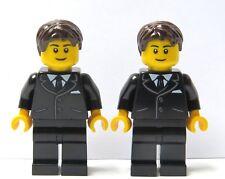 LEGO 2 Wedding Minifigure Figure Black Suit Brown Hair Groom Best Man Usher
