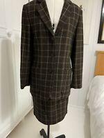Olsen Ladies Brown Check Wool Blend Skirt Suit  - Size 10