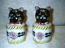 Vintage Cat In Round Box Salt & Pepper Shakers Noise Makers Japan