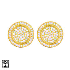 Men's Fashion Iced CZ 14K Gold Plated 3D Round Screw Back Stud Earrings BE 025 G