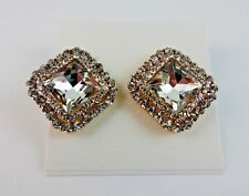 Rhinestone earrings studs gold tone base metal square shape faceted stone