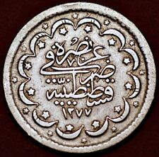 1277//4 AH (1865) AD Turkey .Sultan Abdul Aziz II.  5 kurush.Silver.