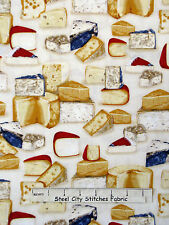 Cheese Fabric - Swiss Bleu Havarti Parmesean Robert Kaufman Kiss The Cook - Yard