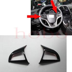 2x For Chevrolet Malibu 2011-2014 Carbon Fiber ABS Wheel Button Decorative Frame