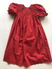 Love Me Dress Christmas Smocked Red White Pearls 100% Cotton Short Sleeve Girls