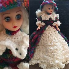 """14"""" PLASTIC DOLL IN AMAZING HAND KNITTED ELABORATE DRESS~ DETAILS!! WOW!!"""