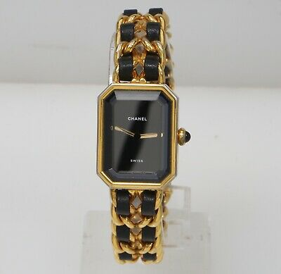 CHANEL 1987 Premiere Size M 20mm Gold Plate with leather Vintage Swiss Watch