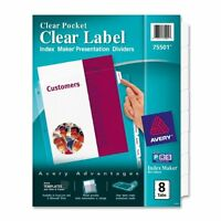 """Avery Index Maker Clear Pocket View Divider - Print-on - 8.50"""" X 11"""" - 8 / Set -"""