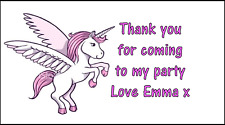 48 Personalised Pink Unicorn Stickers labels Party Bag Sweet Cones Thank You