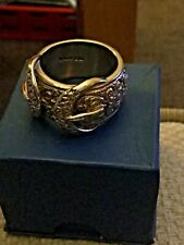 Heavy 9ct  SOLID GOLD DOUBLE BUCKLE RING Size Z 26.4 grams