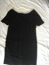 Monsoon 8 LBD Pearl Diamanté Collar V Back Used VGC classic Black Dress