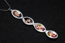 UK 4 Container Oval Silver Photo Picture Locket Pendant Chain Necklace Lady