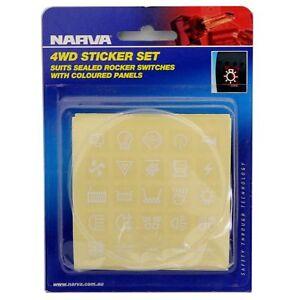 WHITE NARVA ROCKER SWITCH DASH STICKERS LABEL SET FOR COLOURED 4X4 4WD 63175BL