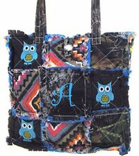 Western Mossy Oak Tree Aztec Patchwork Tote OWL Embroidery Rag Bag MONOGRAM TURQ