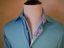 Stone Rose Sky Blue Mens Long Sleeve Button Front Flip Cuffs Shirt Size Large L