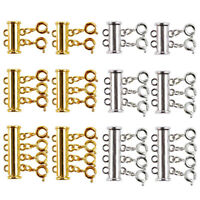 12 Pieces There Size Necklaces Slide Magnetic Tube Lock Clasps Gold and Si  X7R2