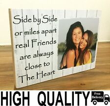 "7x5"" Personalised Wood Photo Quote Block Friendship Best Friend Present Gift"