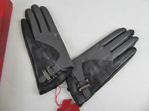 WOMENS LUXURY LEATHER BLACK/GREY GLOVES - SIZE 7.5 - RRP £91.99 - NEW WITH TAGS
