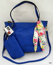 NYC by Perlina Faux Leather Blue Shoulder Handbag Purse Scarf Wristlet Shopper