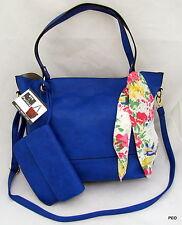 NYC by Perlina Faux Leather Blue Shoulder Handbag Purse Scarf Wristlet Shopper