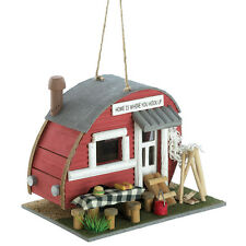 Red Camper Trailer Camping Birdhouse Bird House