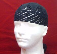 ccd8c77ddf7 Black 100% cotton summer knit crochet mens hat lace beanie scull handmade  SJS