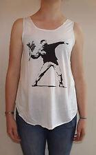 Banksy Flower Bomb Graffiti T-Shirt Vest Tank Top  Ladies Women Girls New