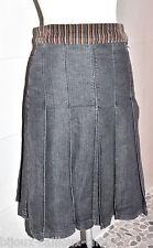 magnifique JUPE plissée de la marque BLONDIE jean gris & velours mulicolore T 36