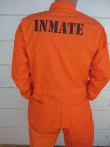 CUSTOM PRINTED Jail Inmate Orange JUMPSUIT Costume Halloween Cosplay HI QUALITY
