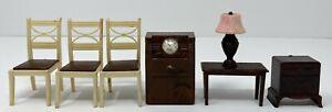 Vintage Lot 7 Asst Renwal Plasco Dollhouse Miniature Chairs Lamp Radio Tables
