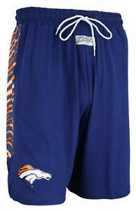 Zubaz NFL Men's Denver Broncos Team Logo Zebra Side Seam Shorts, Navy