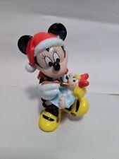 Enesco Disney Minnie Mouse Santa Cap Painting Doll Christmas Ceramic Figurine