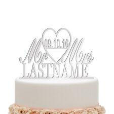 Mirror Silver Cake Topper Personalised Wedding Custom Surame Heart Decoration
