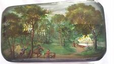 Russian lacquer box of a country scene, handpainted, signed, Fedoskino