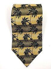 "Tommy Bahama Palm Tree 100% Silk Yellow Green Stripes USA Made 57"" Neck Tie"